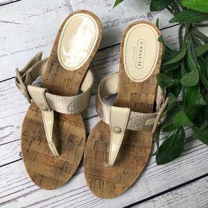 Coach Bernadette patent/cork wedge sandal